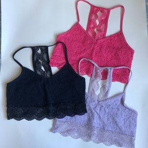 3 Girls Abercrombie Lined Lace Racerback Bralettes